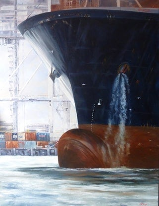 "(CreativeWork) ""The Docking"" by Pat McKenzie. Oil Paint. Shop online at Bluethumb."