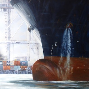 """(CreativeWork) """"The Docking"""" by Pat McKenzie. oil-painting. Shop online at Bluethumb."""