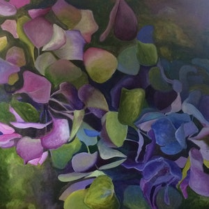 (CreativeWork) Hydrangea by Tracey Miller. arcylic-painting. Shop online at Bluethumb.