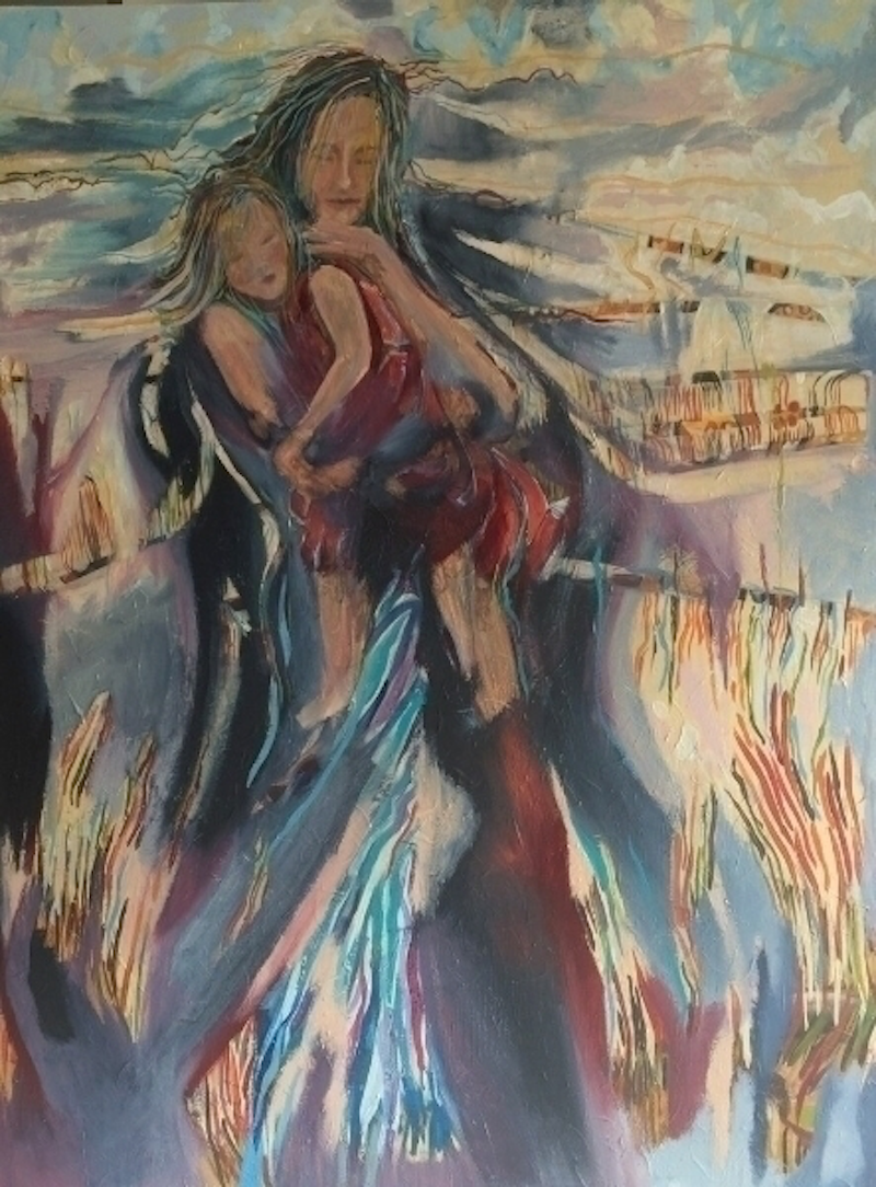 (CreativeWork) Mother and Child by Tracey Miller. arcylic-painting. Shop online at Bluethumb.