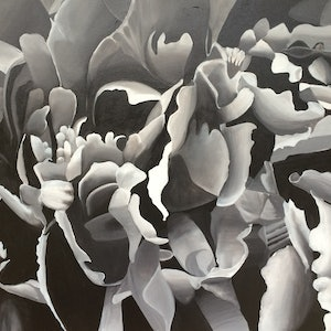 (CreativeWork) Peony in Black and White by Tracey Miller. arcylic-painting. Shop online at Bluethumb.