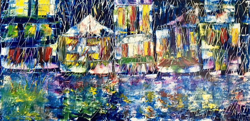(CreativeWork) Coloured city  by atefeh hekmat. oil-painting. Shop online at Bluethumb.