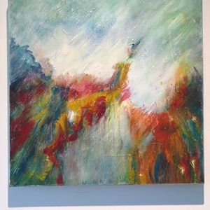 (CreativeWork) Meeting at the edge by Jane Welsh. arcylic-painting. Shop online at Bluethumb.