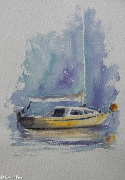 (CreativeWork) The Yellow Hull by Cheryl Bruce. watercolour. Shop online at Bluethumb.