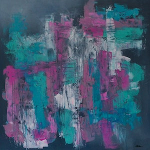 (CreativeWork) Vibrant Fog by Katie Dobson. arcylic-painting. Shop online at Bluethumb.