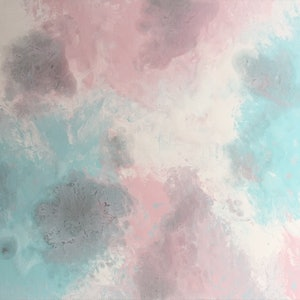 "(CreativeWork) ORIGINAL ABSTRACT ART PAINTING ON STRETCHED CANVAS  ""ICE CREAM"" TURQUOISE PINK WHITE SILVER by Debra Ryan. mixed-media. Shop online at Bluethumb."