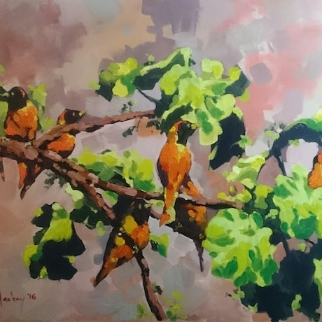 (CreativeWork) Orange Bishops  by Glen Mackay. Oil Paint. Shop online at Bluethumb.