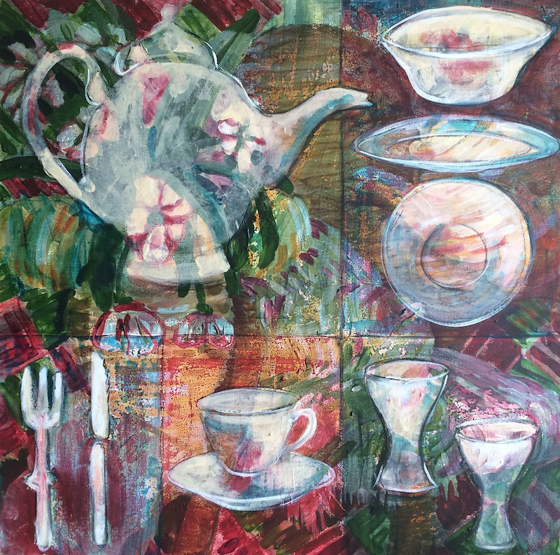 (CreativeWork) Afternoon Tea by Tracey Miller. mixed-media. Shop online at Bluethumb.