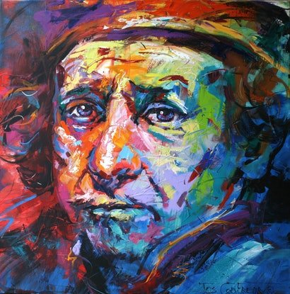(CreativeWork) Rembrandt by Jos Coufreur. Acrylic Paint. Shop online at Bluethumb.