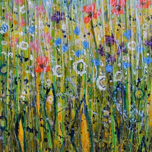 (CreativeWork) Wild Flower Meadow by Adel Nemeth. mixed-media. Shop online at Bluethumb.