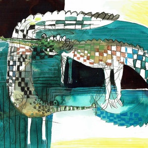 (CreativeWork) Crocodiles  by John Graham. mixed-media. Shop online at Bluethumb.
