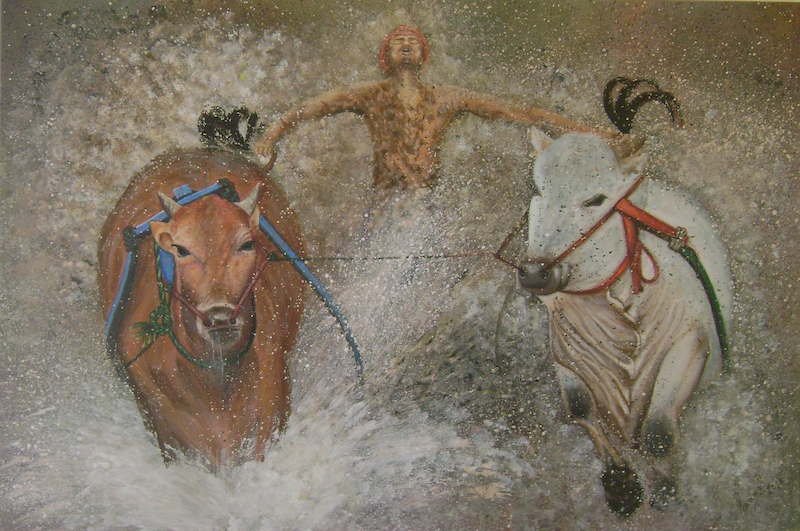 (CreativeWork) The Bull Race by Sandhya Padma. arcylic-painting. Shop online at Bluethumb.