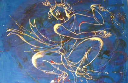 (CreativeWork) In The Blue Waters. by Sarasa Krishnan. oil-painting. Shop online at Bluethumb.
