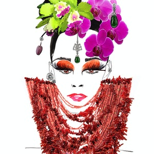 (CreativeWork) Orchids & Corals  by BaleaRaitz Lorena. print. Shop online at Bluethumb.
