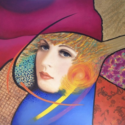 (CreativeWork) Golden Girl 1 by May Sheppard. arcylic-painting. Shop online at Bluethumb.