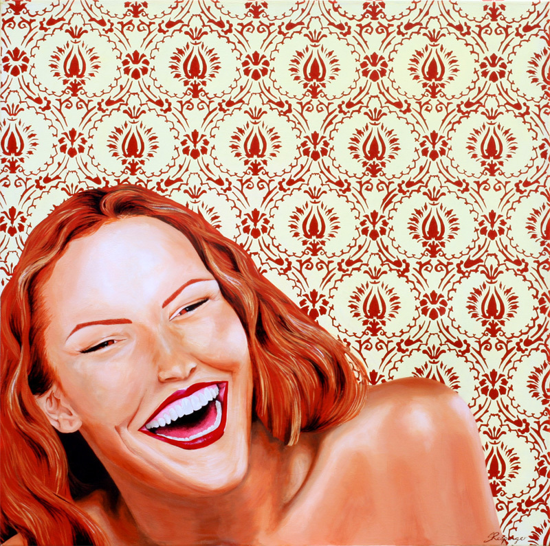 (CreativeWork) Laughing Lady by Susan Respinger. arcylic-painting. Shop online at Bluethumb.