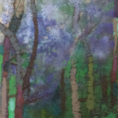 (CreativeWork) Jacaranda time  by Maggie Cecchin. Acrylic Paint. Shop online at Bluethumb.