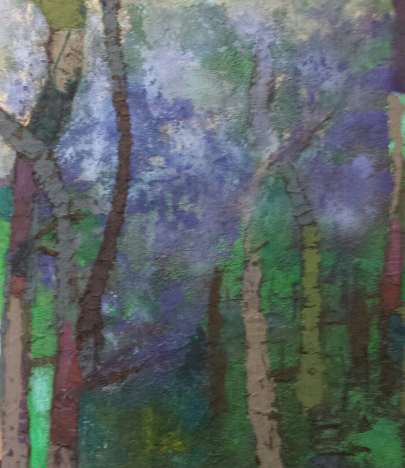 (CreativeWork) Jacaranda time  by Maggie Cecchin. arcylic-painting. Shop online at Bluethumb.