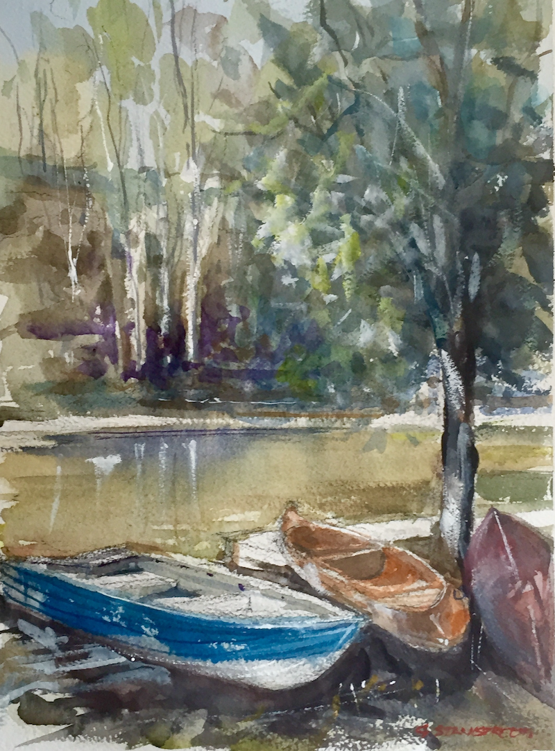 (CreativeWork) Jubilee Lake , Daylesford , Victoria  by Geoff Stanistreet. watercolour. Shop online at Bluethumb.