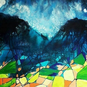 (CreativeWork) Fractured Earth by Susan Curtin. mixed-media. Shop online at Bluethumb.