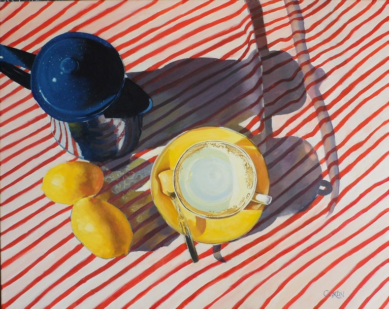 (CreativeWork) Breakfast Shadows by Susan Curtin. oil-painting. Shop online at Bluethumb.