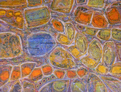 (CreativeWork) Stepping Stones by Adel Nemeth. mixed-media. Shop online at Bluethumb.