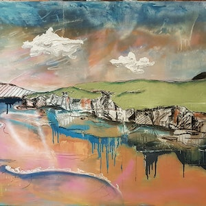 (CreativeWork) Views of the Coast Line by Sam Patterson-Smith. mixed-media. Shop online at Bluethumb.