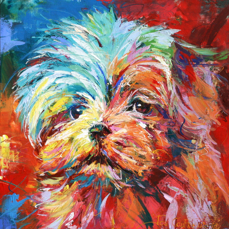 (CreativeWork) Maltese Terrier by Jos Coufreur. arcylic-painting. Shop online at Bluethumb.