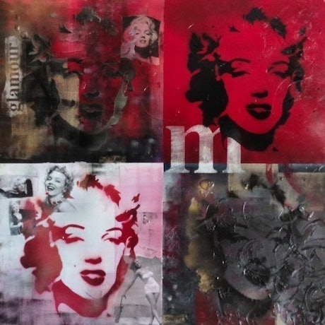 (CreativeWork) Fame and Faces of Marilyn by Melanie Spehr. Mixed Media. Shop online at Bluethumb.