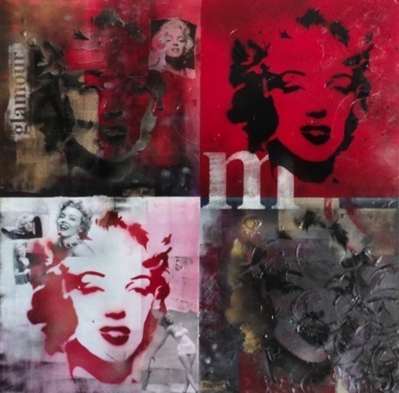 (CreativeWork) Fame and Faces of Marilyn by Melanie Spehr. mixed-media. Shop online at Bluethumb.