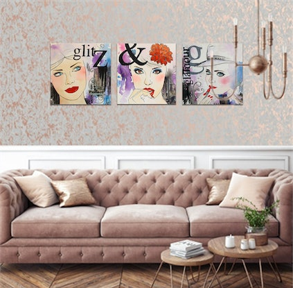 (CreativeWork) Glitz and Glamour by Melanie Spehr. Mixed Media. Shop online at Bluethumb.