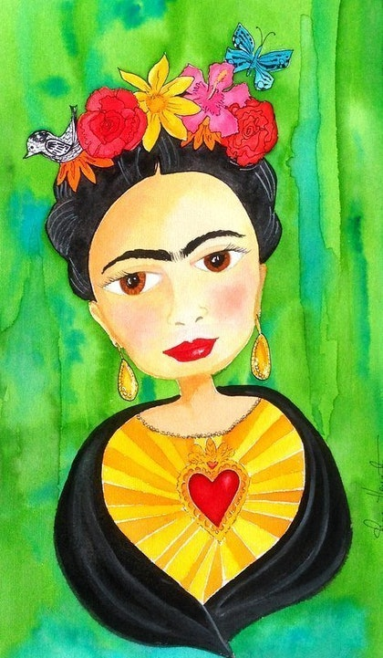(CreativeWork) Frida Kahlo Watercolour by Sharon Hegarty. watercolour. Shop online at Bluethumb.