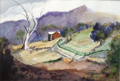 (CreativeWork) The Farm by Carole Cassidy. watercolour. Shop online at Bluethumb.