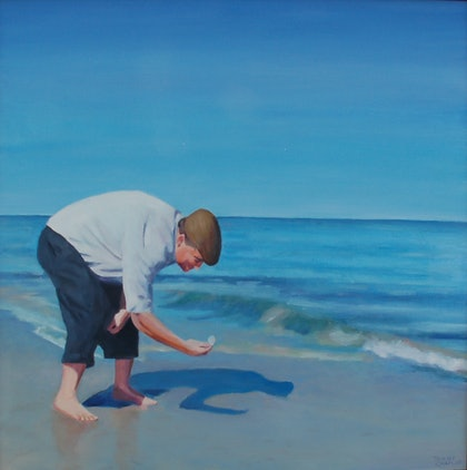 (CreativeWork) Collecting shells by Trent Chaplin. oil-painting. Shop online at Bluethumb.