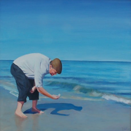 (CreativeWork) Collecting shells by Trent Chaplin. Oil Paint. Shop online at Bluethumb.