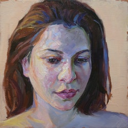(CreativeWork) Study for self portrait by Loribelle Spirovski. oil-painting. Shop online at Bluethumb.