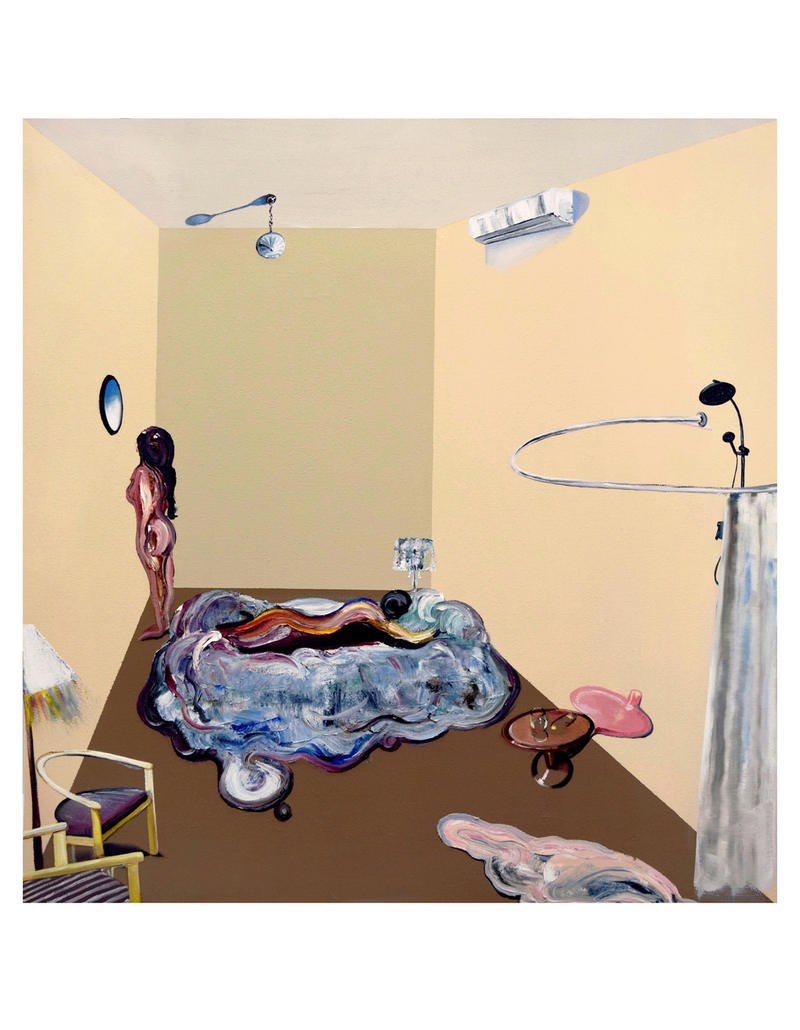(CreativeWork) Two Figures in Motel Room by Loribelle Spirovski. oil-painting. Shop online at Bluethumb.