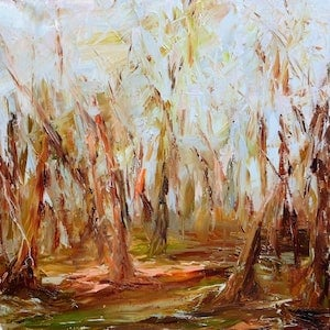 (CreativeWork) INTO THE WOODS by Melanie Bardolia. oil-painting. Shop online at Bluethumb.