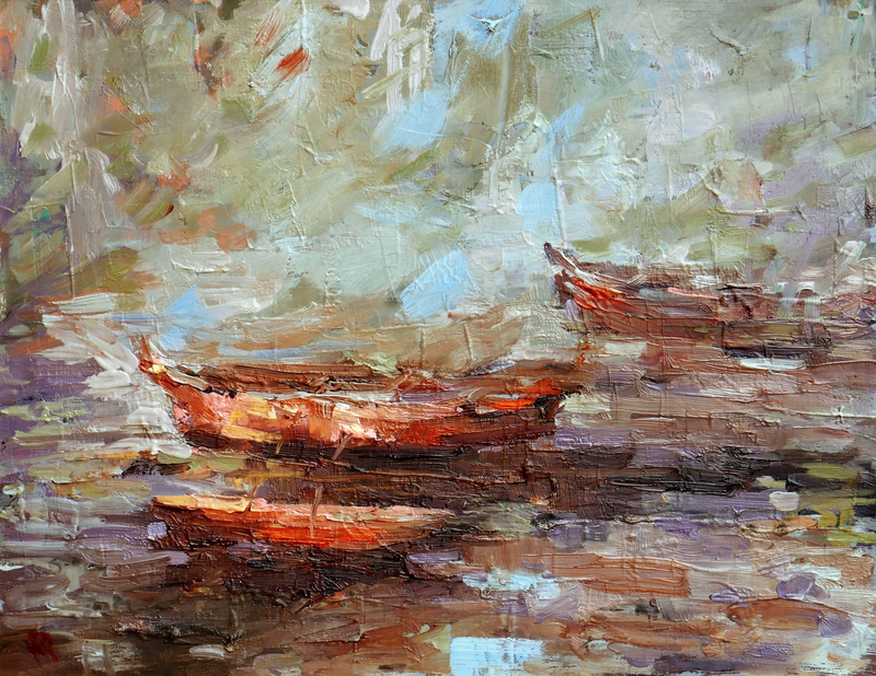 (CreativeWork) BOATS by Melanie Bardolia. oil-painting. Shop online at Bluethumb.