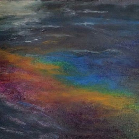 (CreativeWork) Sandy Bay-Pollution by glenda pitt. Acrylic Paint. Shop online at Bluethumb.
