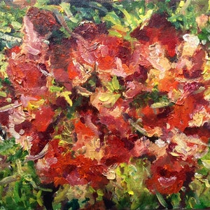 (CreativeWork) Red Flowers Abstract  by Robert Abrahams. oil-painting. Shop online at Bluethumb.
