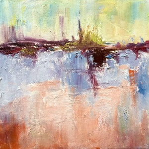 (CreativeWork) Abstract Landscape by Robert Abrahams. oil-painting. Shop online at Bluethumb.