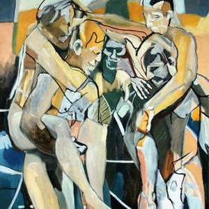 (CreativeWork) five figures in landscape by STEVEN PERRIN. #<Filter:0x00007fc1d879cc40>. Shop online at Bluethumb.