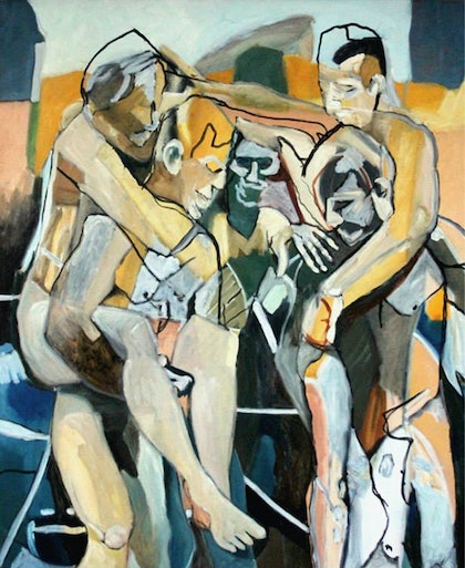 (CreativeWork) five figures in landscape by STEVEN PERRIN. oil-painting. Shop online at Bluethumb.