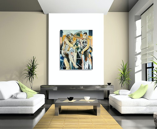 (CreativeWork) five figures in landscape by STEVEN PERRIN. Oil Paint. Shop online at Bluethumb.