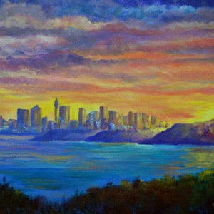 (CreativeWork) View of Sydney from Manly by Christopher Vidal. #<Filter:0x000055670e849390>. Shop online at Bluethumb.