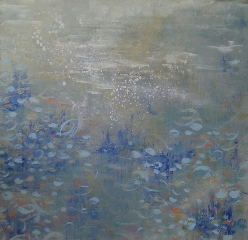 (CreativeWork) Blue Reeds by Andrea Edwards. arcylic-painting. Shop online at Bluethumb.