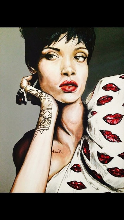 (CreativeWork) Rihanna by Caitlin Broderick. arcylic-painting. Shop online at Bluethumb.