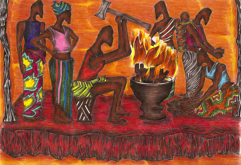 (CreativeWork) Zambian tribe by Hiten Mistry. drawing. Shop online at Bluethumb.