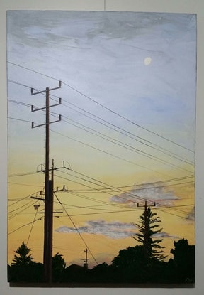 (CreativeWork) High Moon by glenda pitt. Acrylic Paint. Shop online at Bluethumb.